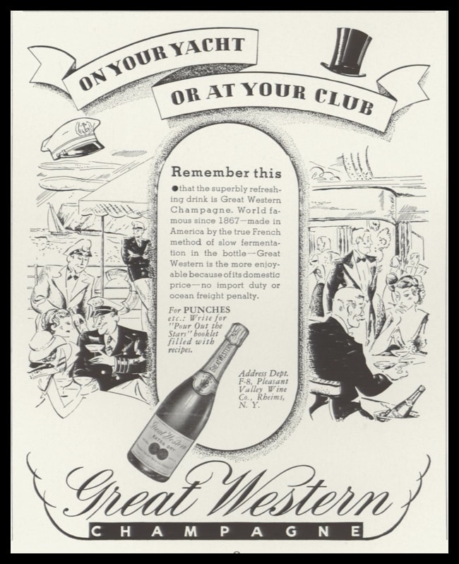 1935 Ad Great Western Champagne | Club-Afterdeck Art