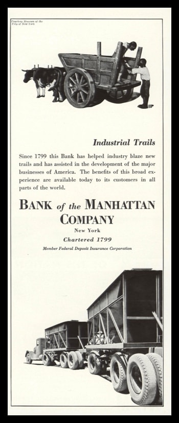 """1936 Bank of the Manhattan Co. Vintage Ad - """"Industrial Trails"""""""