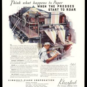 1936 Ad Kimberly-Clark Kleerfect Paper | Printing Press
