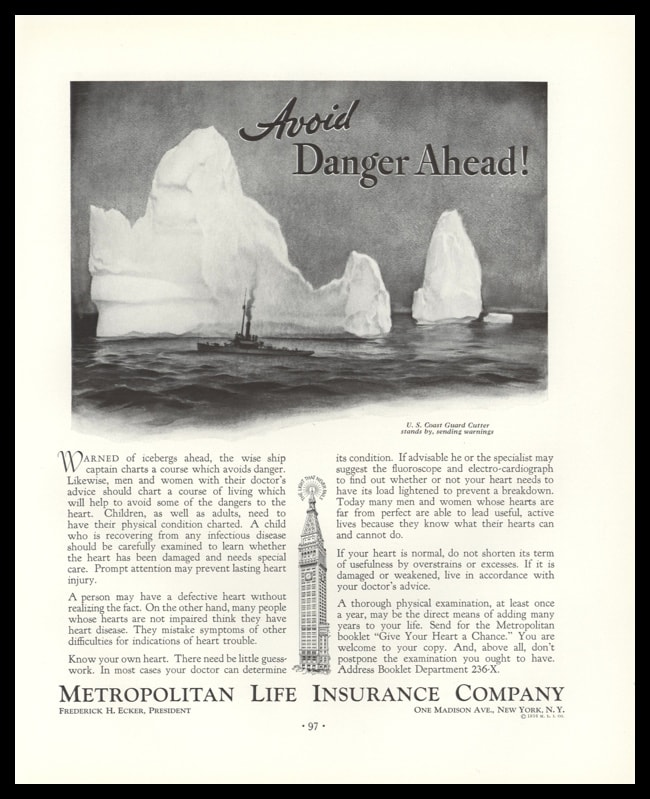 1936 Met Life Insurance Vintage Ad | Coast Guard Cutter