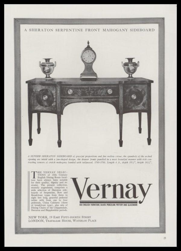 1940 Ad Vernay Antiques | Mahogany Sheraton Sideboard