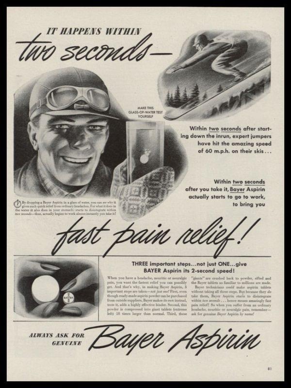 1946 Bayer Aspirin Vintage Ad   Snow Skier Art