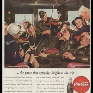 1946 Coca-Cola Vintage Ad | Military Personnel Train