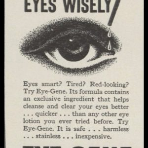 1946 Eye-Gene Eye Drops Vintage Ad | Eye Art