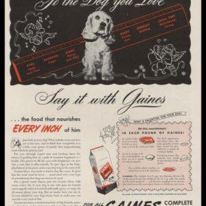 1946 Gaines Dog Meal Vintage Ad | Cocker Spaniel