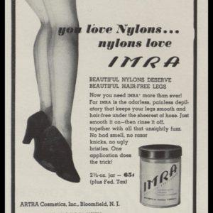 1946 IMRA Cosmetic Depilatory Vintage Print Ad - sexy legs illustration