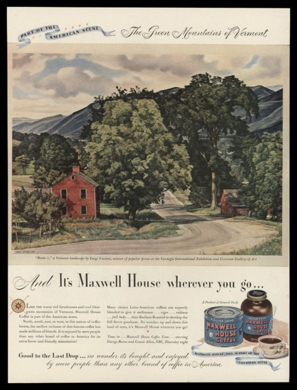 1946 Maxwell House Vintage Ad - Luigi Lucioni Vermont Art