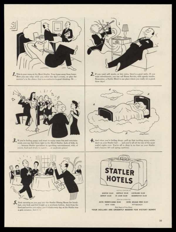 1946 Statler Hotels Vintage Ad | Tony Barlow Art