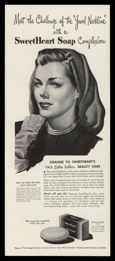 1946 Ad Sweetheart Soap | Jewel Neckline Necklace