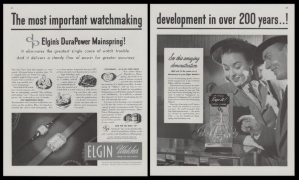 1947 Elgin Watches 2-Page Vintage Ad - Lord & Lady Elgin Watches
