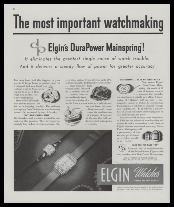 1947 Elgin Watches 2-Page Vintage Print Ad - Lord & Lady Elgin Watches Pg. 1