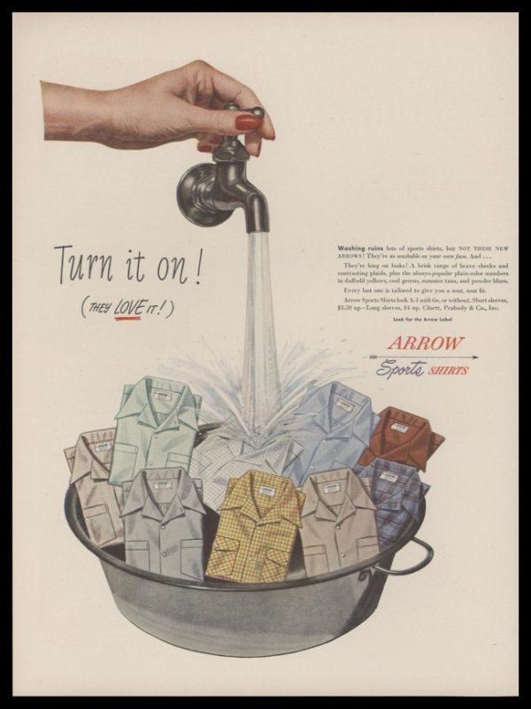 1948 Arrow Sports Shirts Vintage Ad   Turn it on!
