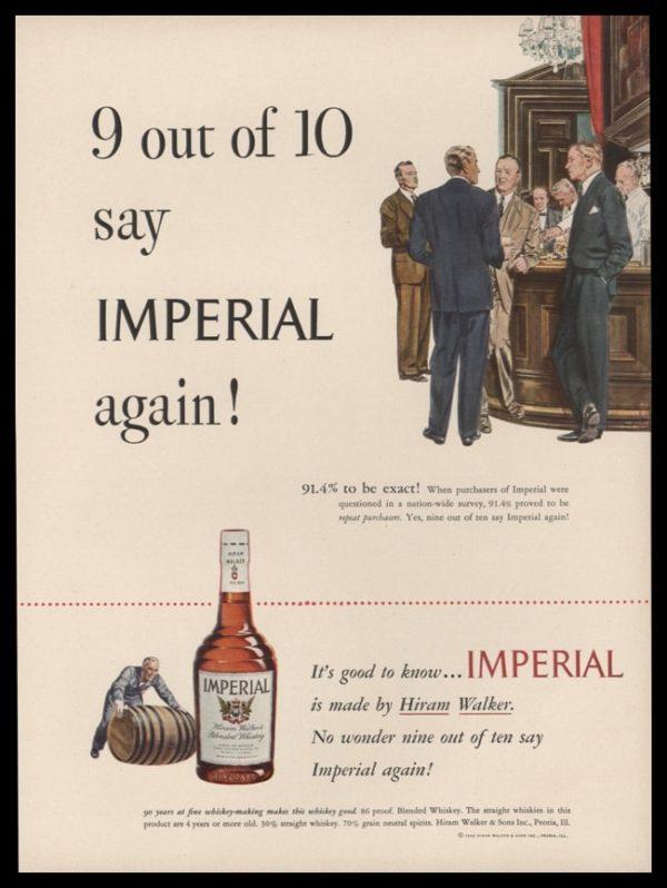 1948 Imperial Whiskey Vintage Ad | Barroom Art