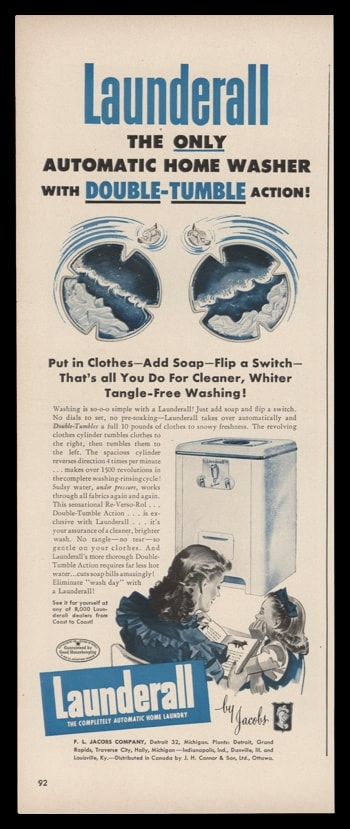"1948 Launderall Washer Vintage Ad | ""Double-Tumble"""