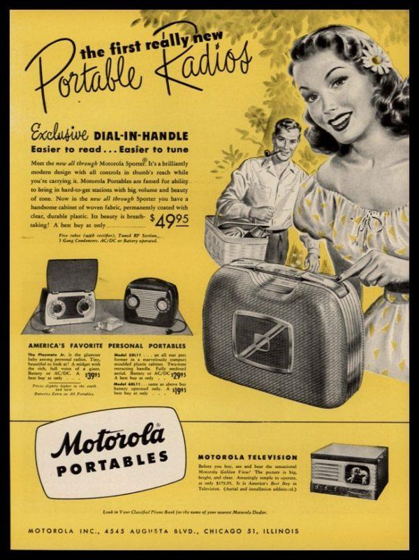 1948 Motorola Portable Radios and Television Vintage Ad