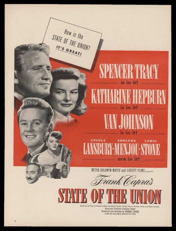 1948 State of the Union Movie Release Vintage Ad - Tracy & Hepburn