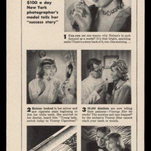 1948 Viceroy Cigarettes Vintage Ad | Helene Cornely
