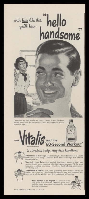 "1948 Vitalis Hair Dressing Vintage Print Ad - ""Hello Handsome"""