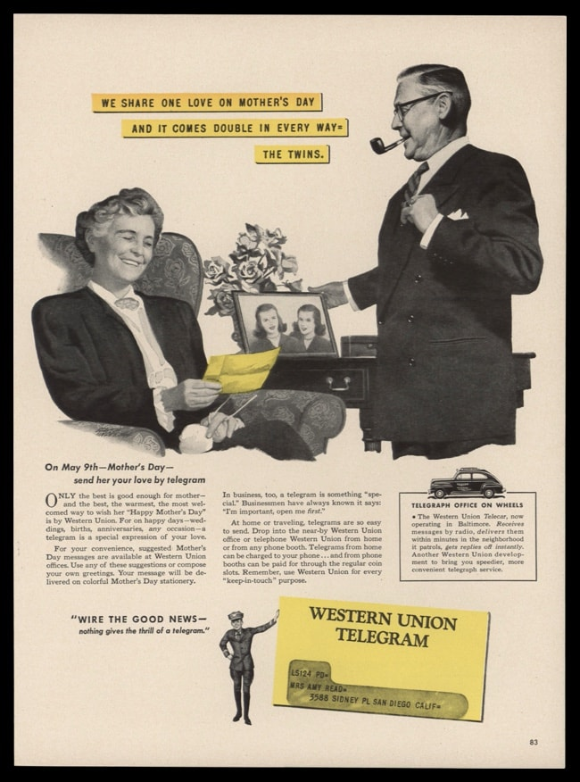 1948 Western Union Vintage Ad | Mothers Day Telegram
