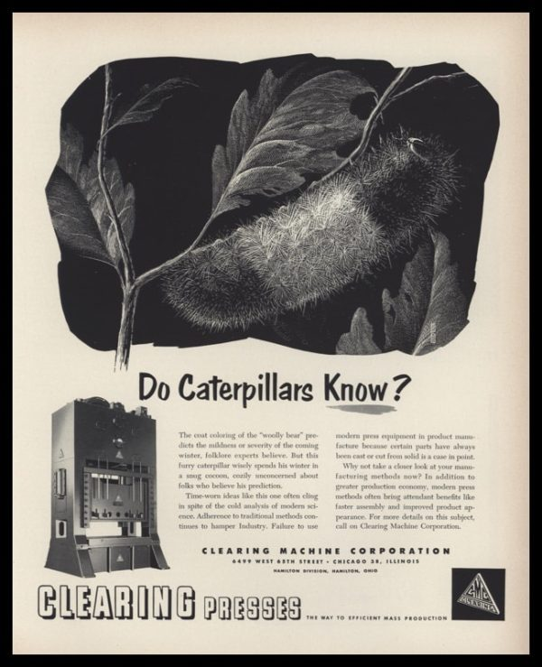 1953 Clearing Machine Corp. Presses Vintage Ad - Caterpillar Art