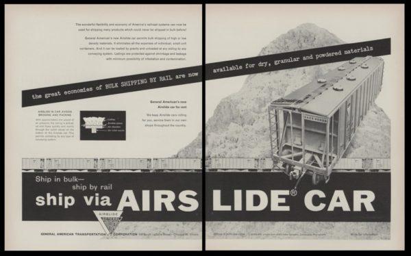 1953 GATX Airslide Railroad Cars 2 pg. Vintage Print Ad