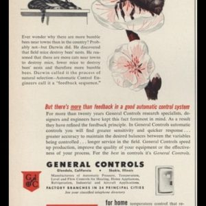 1953 General Controls Vintage Ad | Bumble Bee Art