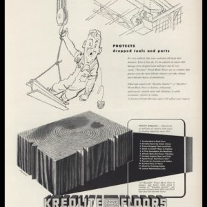 1953 Kreolite Floors Vintage Ad | Cartoon Art