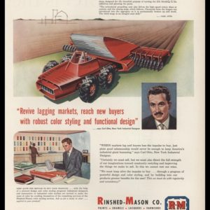 1953 Rinshed-Mason Paints Vintage Ad | Carl Otto | Futuristic Tractor