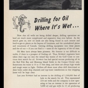 1953 Sunray Oil Corp Vintage Ad | Oil Exploration Boat