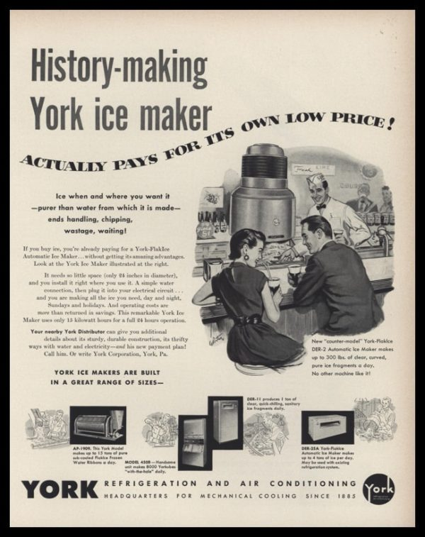 1953 York Ice Makers Vintage Ad | Lunch Counter Art