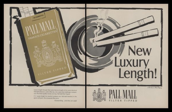 """1966 Pall Mall Cigarettes 2 Page Vintage Ad - """"New Luxury Length"""""""