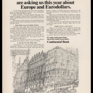 1969 Continental Bank Vintage Ad | Brussels