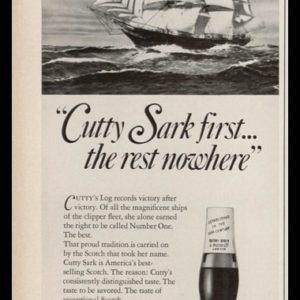 1969 Cutty Sark Scotch Whisky Vintage Ad - Clipper Ship Art