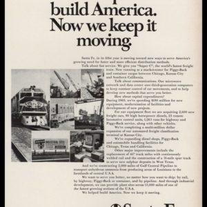 1969 Santa Fe Railroad Vintage Ad