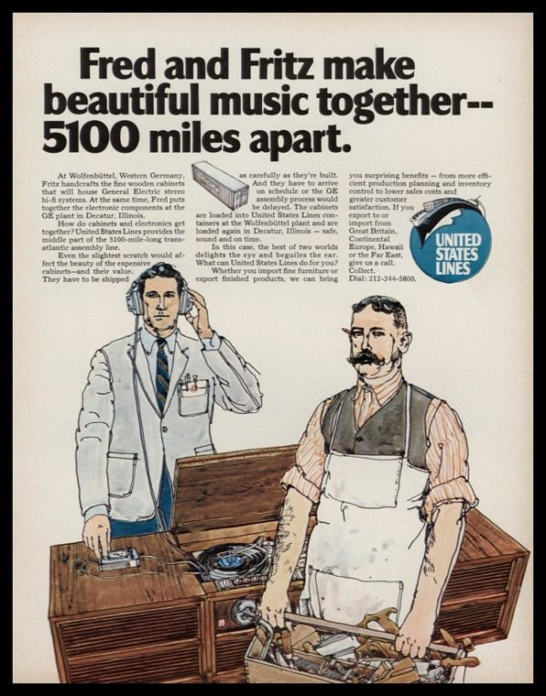 1969 United States Lines Vintage Ad | Console Stereo