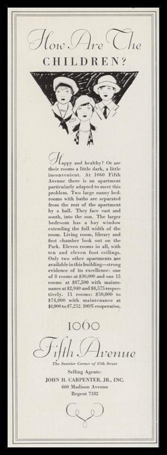 1928 Vintage Ad 1060 Fifth Ave Apartments NYC