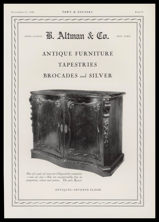 1928 B. Altman & Co. Vintage Ad | Chippendale Commode