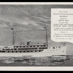 "1928 Ad Humphreys Houseboat | Jerome Kern's ""Showboat"""