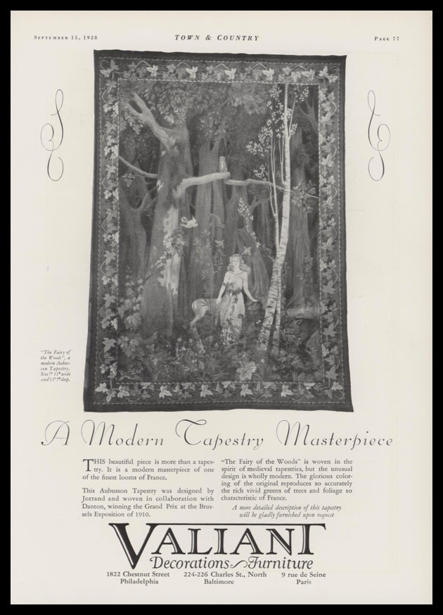 "1928 Valiant Decorations & Furniture Vintage Ad - ""Fairy in the Woods"" Tapestry"