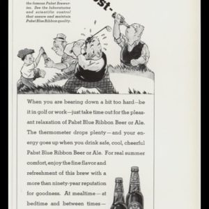 1935 Pabst Blue Ribbon Beer and Ale Vintage Ad | Golf Art