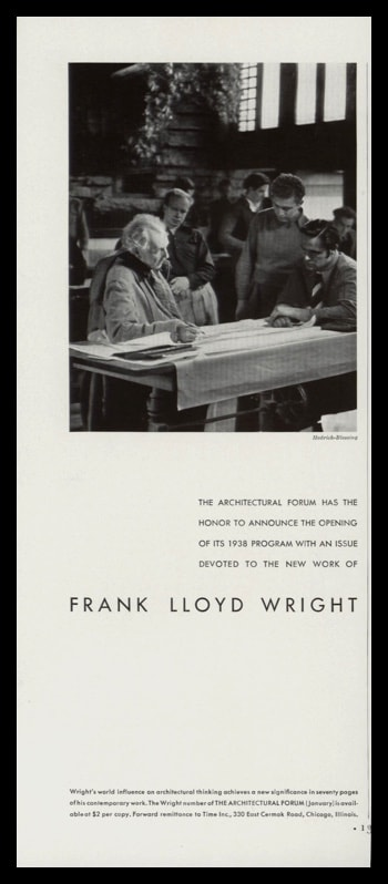 1938 Architectural Forum Vintage Ad | Frank Lloyd Wright