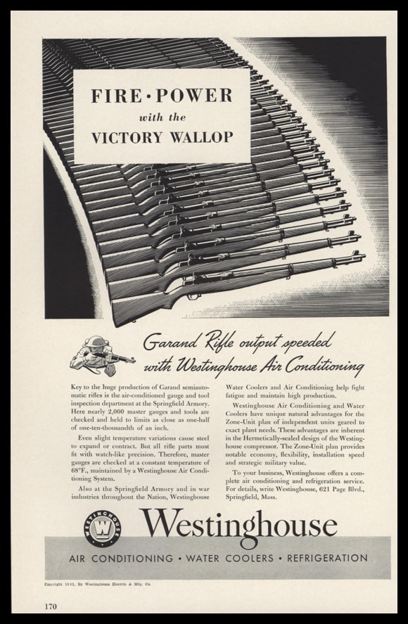 1942 Ad Westinghouse Air Conditioning | Garand Rifle
