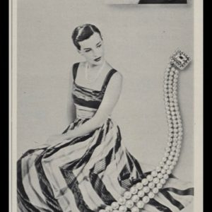 1947 La Tausca Simulated Pearls Vintage Print Ad - Henri Bendel Dress