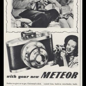 1947 Universal Camera Vintage Ad | Meteor Model