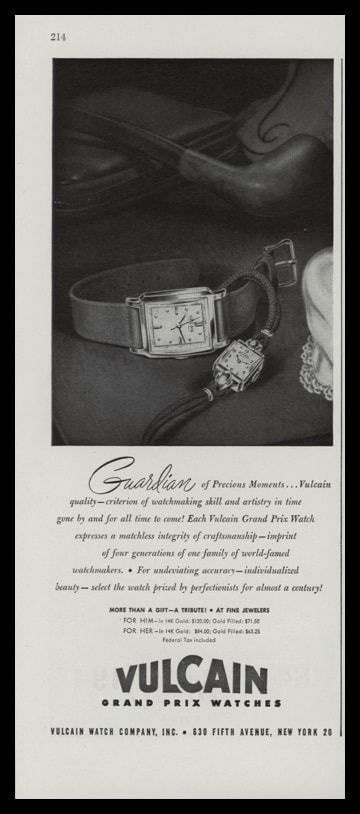 1947 Vulcan Watch Co. Vintage Ad | Grand Prix Watches