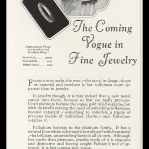 "1926 Palladium Jewelry Vintage Ad | ""Coming Vogue"""