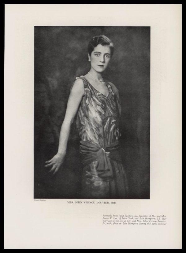 1928 Mrs. John Vernou Bouvier, 3rd Vintage Print - Mother of Jacqueline Kennedy