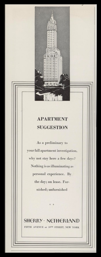 1928 Sherry-Netherland Apartments Vintage Ad