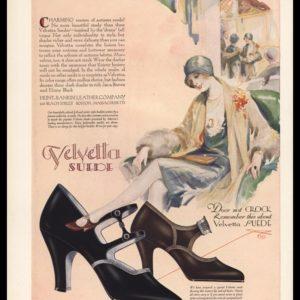 1928 Velvetta Suede Shoes Vintage Ad