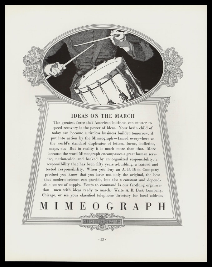 1936 A.B. Dick Mimeograph Vintage Ad - Donald Denton Drummer Art